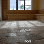 Antique Biblical Limestone used in the flooring in an empty room
