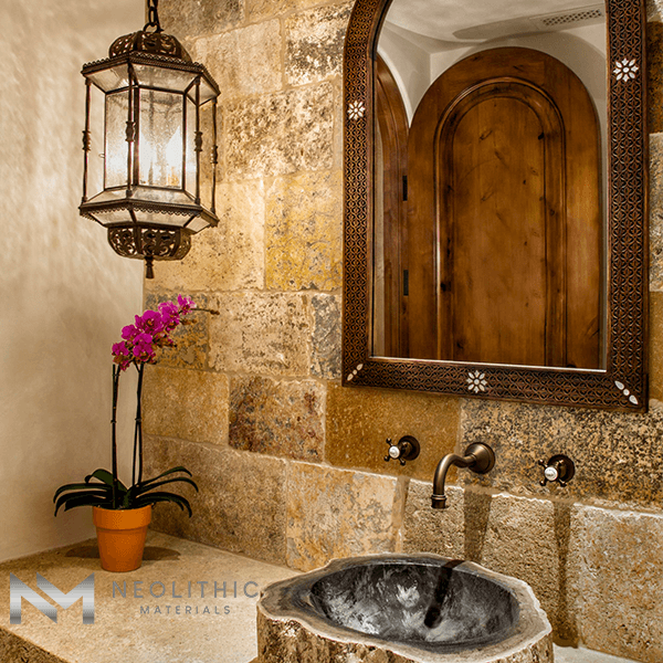 Reclaimed First Biblical Limestone used in the wall of a classic comfort room