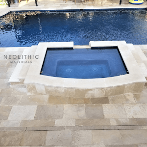 High angle view of Dalle de France Reclaimed Stone used in flooring of a classic pool