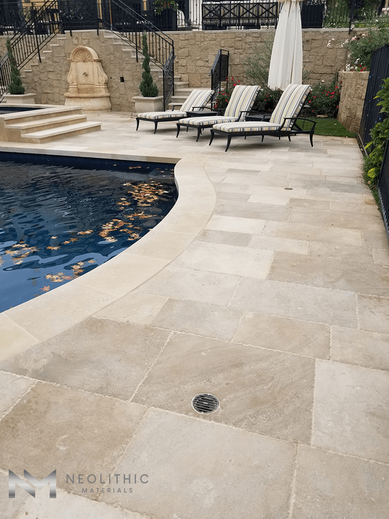 The Best Dalle de France Stone used in the flooring of a classic pool