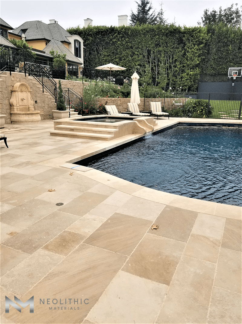 Antique Dalle de France used in the flooring of a classic pool