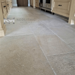 Close up view of French Limestone Flooring installed in a kitchen room