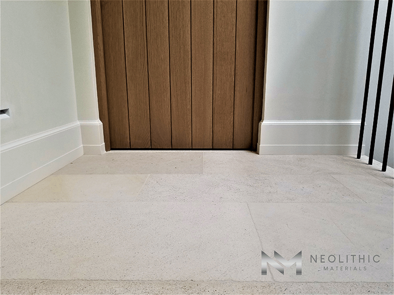 Close up view of Dalle de Foix Flooring installed in a house