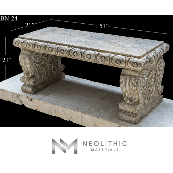 Image of BN-24-a one of the Classic Reclaimed Stone Bench product of Neolithic Materials