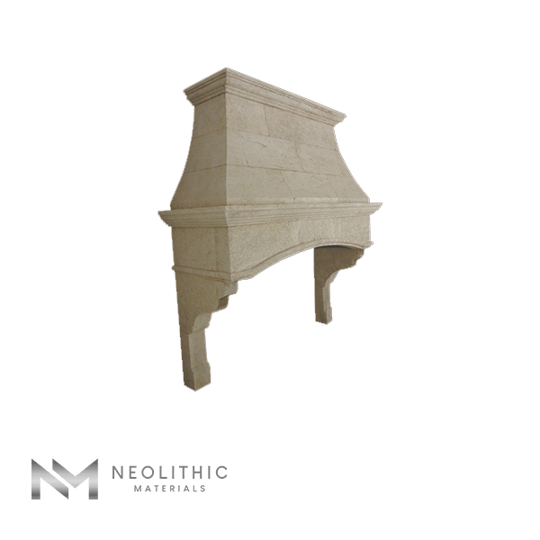 Left side view of CH 875 one of Stone Kitchen Hoods of Neolithic Materials
