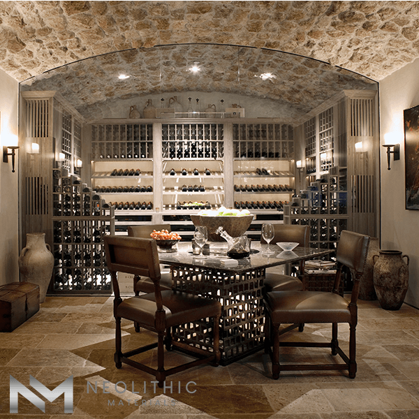 Antique Reclaimed Corsica Limestone used in flooring of a winery