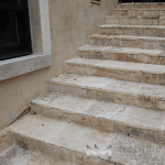 Reclaimed Corsica Limestone used in flooring of a stairway