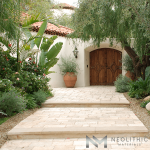 Limestone pavers used as an outdoor flooring