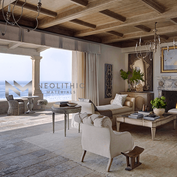 Antique Corsica Stone used in flooring of a living room with an amazing ocean view