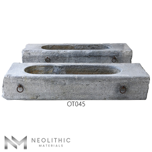 Front view of two OT045 one of Trough Reclaimed Stone Sinks of Neolithic Materials