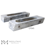 Side view of two OT045 one of Trough Reclaimed Stone Sinks of Neolithic Materials
