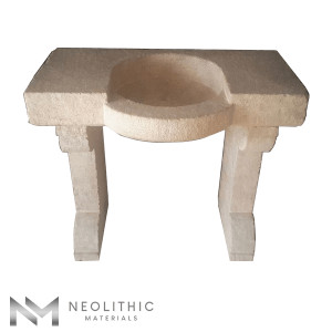 Upper Front view of RSK 104 - BU 100 one of Reclaimed Stone Sinks of Neolithic Materials