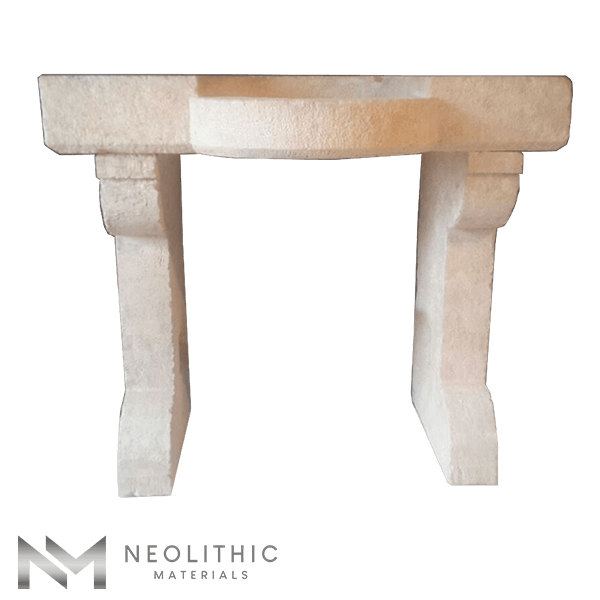 Front view of RSK 104 - BU 100 one of Reclaimed Stone Sinks of Neolithic Materials
