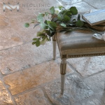 Close up view of the Reclaimed Italian Flooring of Neolithic Materials