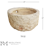 Front view with measurement of TR 02 one of Round Trough Stone Sink of Neolithic Materials