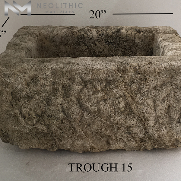 Front view with measurement of TR 15 one of Antique Stone Trough Sinks of Neolithic Materials