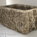Side view of TR 15 one of Antique Stone Trough Sinks of Neolithic Materials