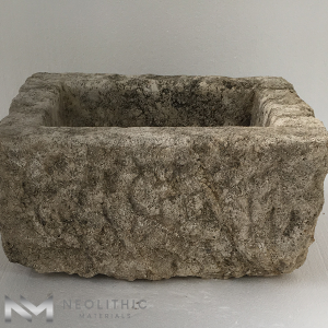 Front view of TR 15 one of Antique Stone Trough Sinks of Neolithic Materials