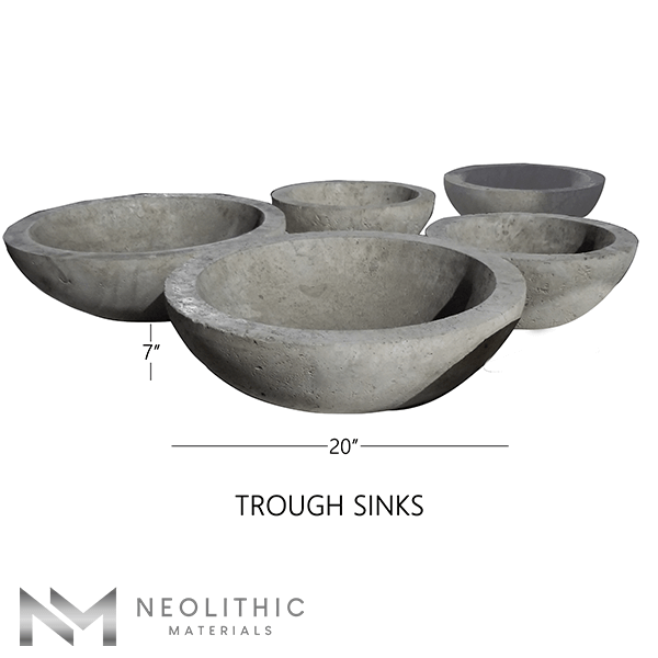 Product Image with measurement of five Stone Trough Sinks one of the products of Neolithic Materials