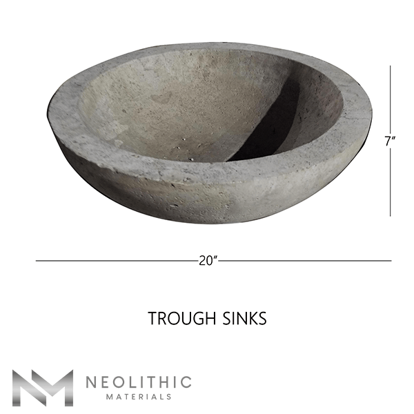 Product Image with measurement of Stone Trough Sinks one of the products of Neolithic Materials